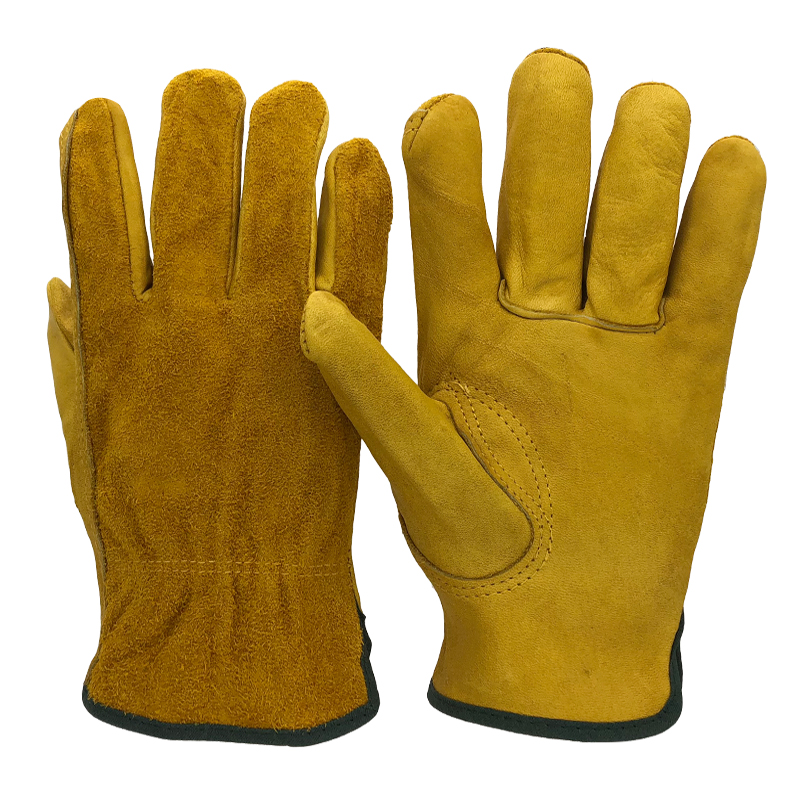 RJS 24PCS Work Gloves Cowhide Leather Men Working Welding Gloves Safety Protective Garden Sports MOTO Wear-resisting Gloves 4021 50pcs disposable safety protective latex for home cleaning industria rubber long female kitchen wash dishes garden work gloves a