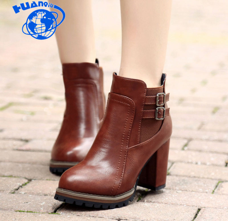HUANQIU 2018 Fashion Black Boots Women Heel Spring Autumn Soft Leather Platform Shoes Woman Party Ankle Boots High Heels ZLL390