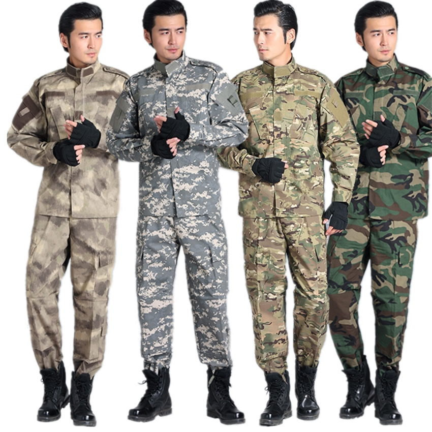 Men Army Tactical Military Uniform Camouflage Combat Shirt Pant Special Forces ACU Clothes for Man's Soldier Uniforms Set