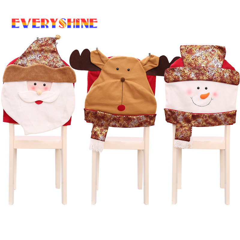 Christmas Flannel Craft Santa Claus Snowman Reindeer Chair Hat Cover Hanging Ornaments Xmas Party Eve Decoration Chair Cap SD423
