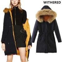 Withered 2017 kurtka zimowa kobiety europejskich i amerykańskich pierzyna płaszcz plus rozmiar płaszcz zimowy kobiety parka Zagesccie kapturem topy