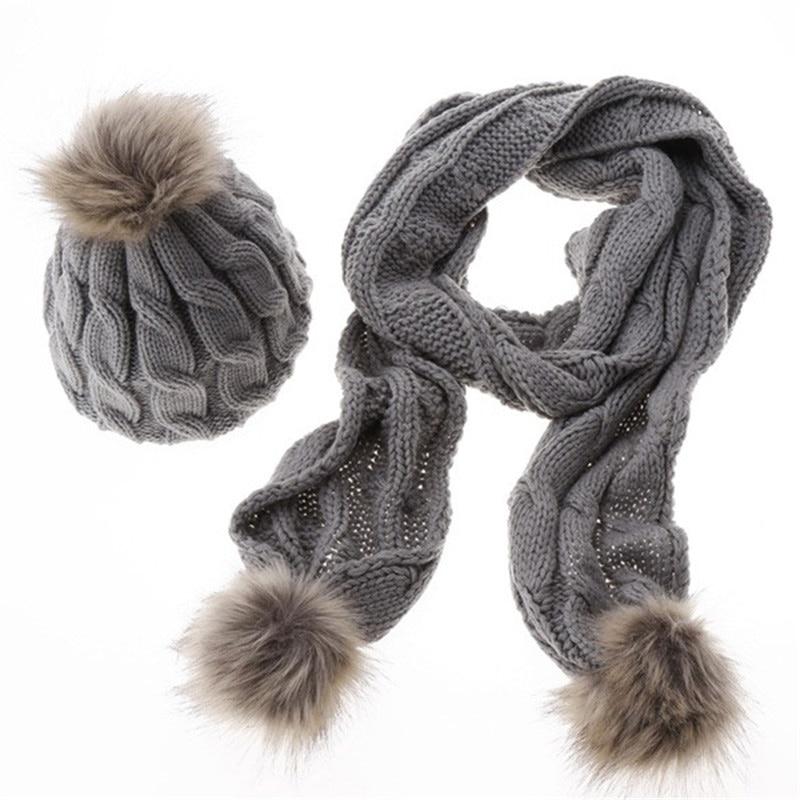 Women Knit Scarf And Hat Set Fashion Fur Pompom Scarf Shawl Cap Winter Warm Gray Black Scarf Hat For Girl Knit Twist Cap Scarves