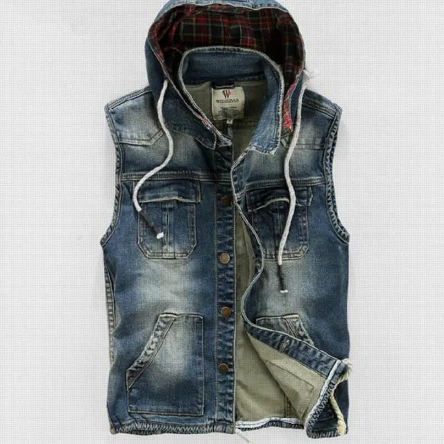 16645ffa636 Men's summer denim vest men jean sleeveless jacket mens tops slim with hood  jeans outerwear jackets vests clothes N23111