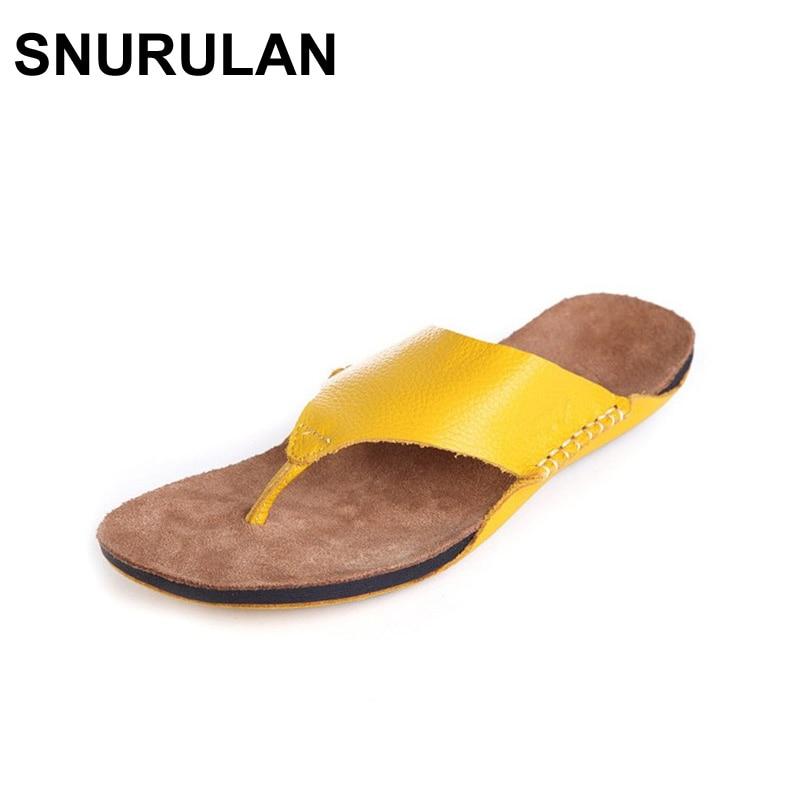 все цены на SNURULAN Shoes Woman Flip Flops 100% Authentic Leather Open Toe Sandals Beach Slides Woman Summer Shoes Ladies Footwear