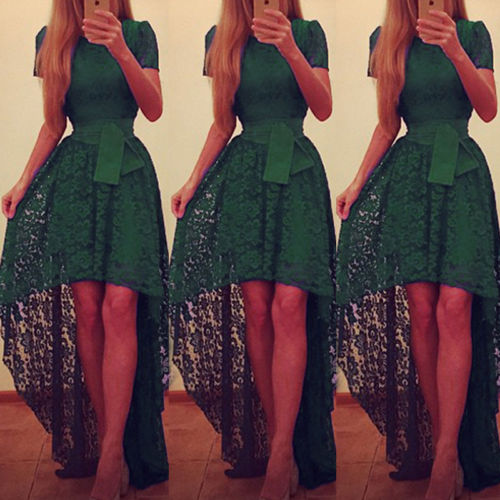 Summer Fashion Formal Green Lace Dress Women Swing Prom Evening ...