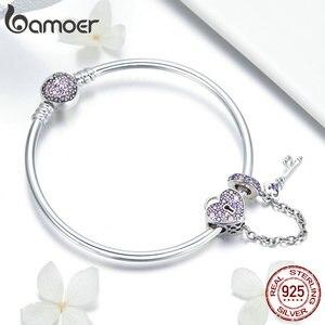 Image 4 - Bamoer Echt 925 Sterling Zilveren Liefde Sleutel Hart Vorm Armbanden Armbanden Voor Vrouwen Paars Zirkoon Valentine Gift Sieraden SCB820