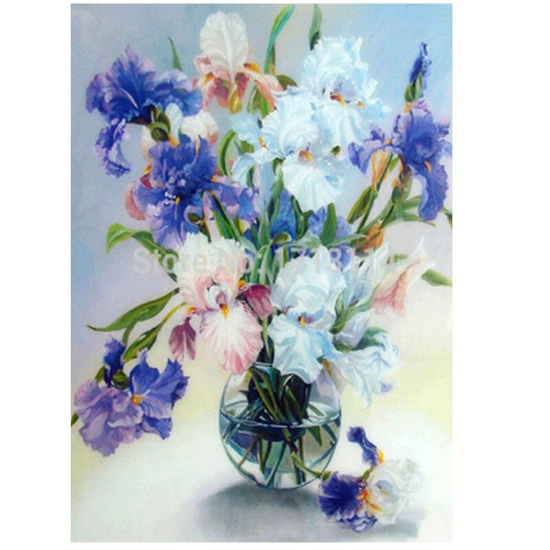 5D diy Diamant peinture ronde forage fleur et vase moasic floral image pâtes diamant brodé fleurs