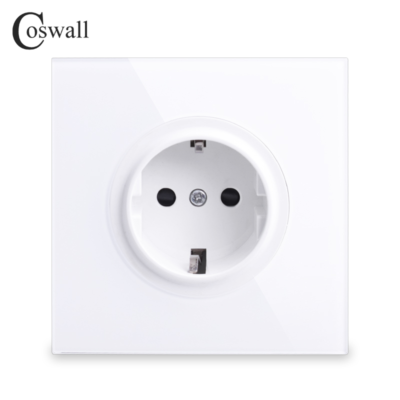 Coswall 2018 New Arrival Crystal Glass Panel 16A EU Standard Wall Power Socket Outlet Grounded With Child Protective Lock