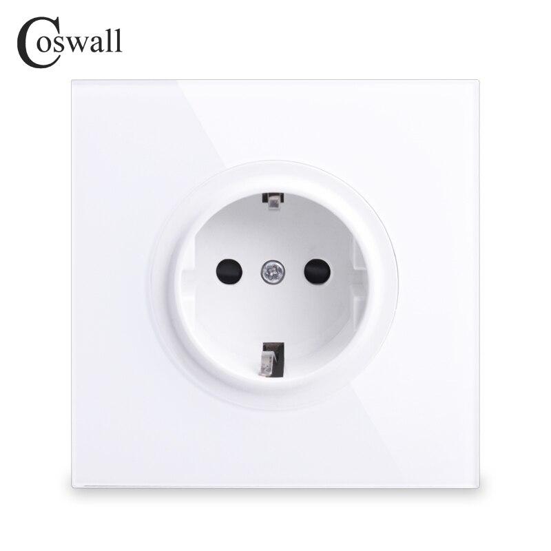 Coswall 2018 nuevo Panel de cristal 16A enchufe de pared estándar de la UE toma de corriente conectado a tierra con cerradura protectora para niños