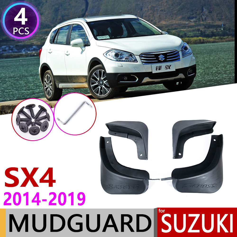 4PCS Car Mudguards for <font><b>Suzuki</b></font> S-Cross <font><b>SX4</b></font> 2014~<font><b>2019</b></font> Mudflap Fender Mud Flaps Guard Splash Flap Accessories 2015 2016 2017 2018 image