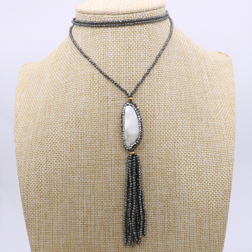 Natural druzy pendant necklace handcrafted 2mm hematite chain necklace with  tassel pendant 32