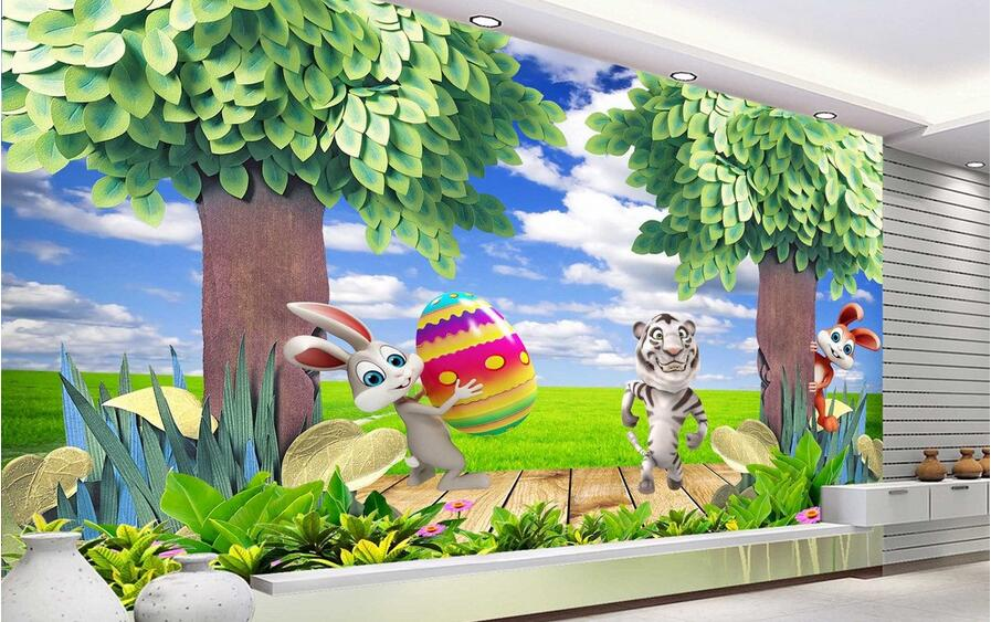 3d wallpaper custom mural non-woven picture 3 d Cute little rabbit tiger children room painting photo 3d wall murals wallpaper custom baby wallpaper snow white and the seven dwarfs bedroom for the children s room mural backdrop stereoscopic 3d