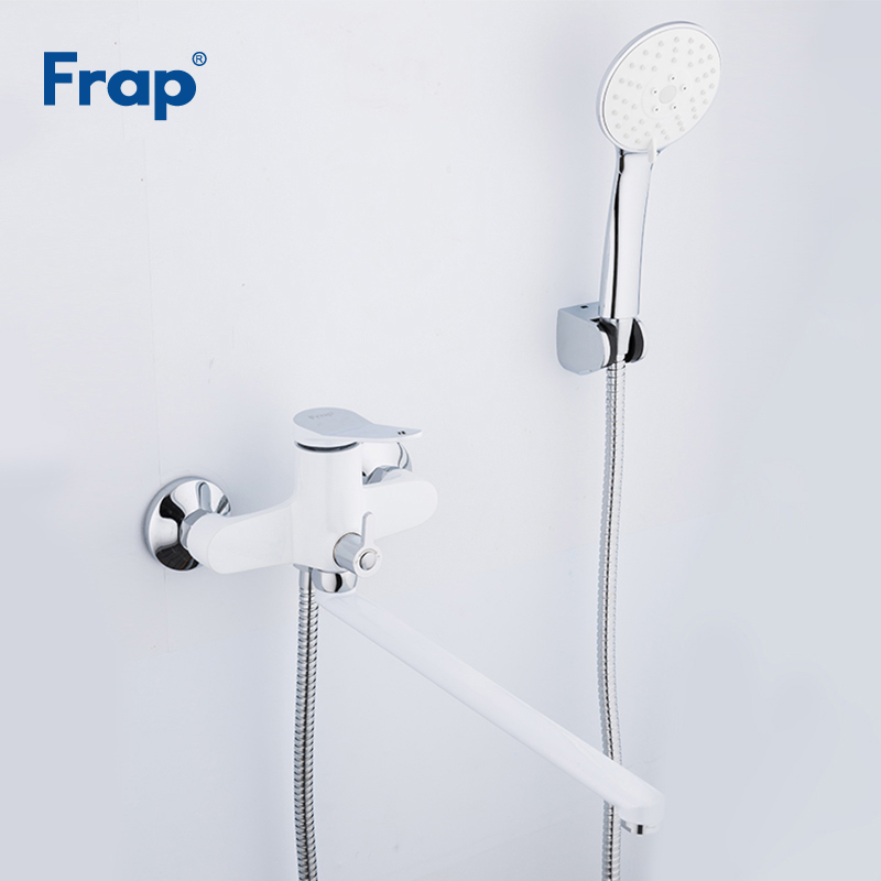 Frap New 350mm Bathroom Shower Faucets White Bathtub Faucet Mixer Tap With Hand Shower Sets wall