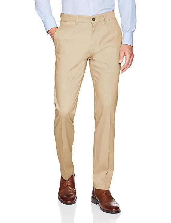2018 Uomo Slim Fit Flat-front Vestito Separata Pant Formale Da Sposa D'affari Etero Maschio Pantaloni Kaki Sottile Ufficio Pantaloni Del Vestito