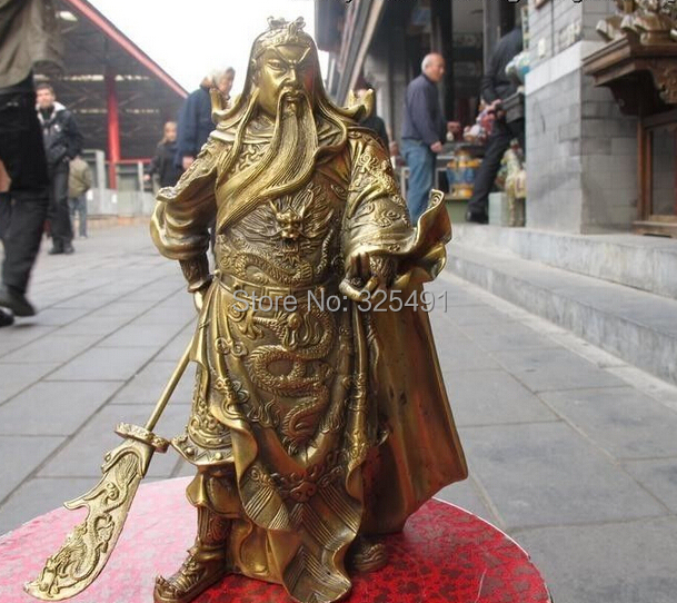 Details about Chinese Folk Classic Brass Carved Dragon Guan gong Guanyu warrior statue