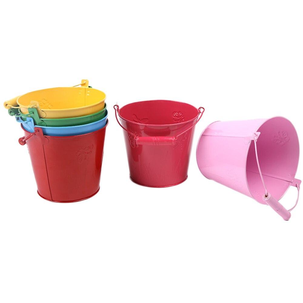 1 PC Beach Bucket Gardening Galvanized Toilet Iron Play Sand Barrel Toy Baby Kids Shower Toy SandSand Water Toys