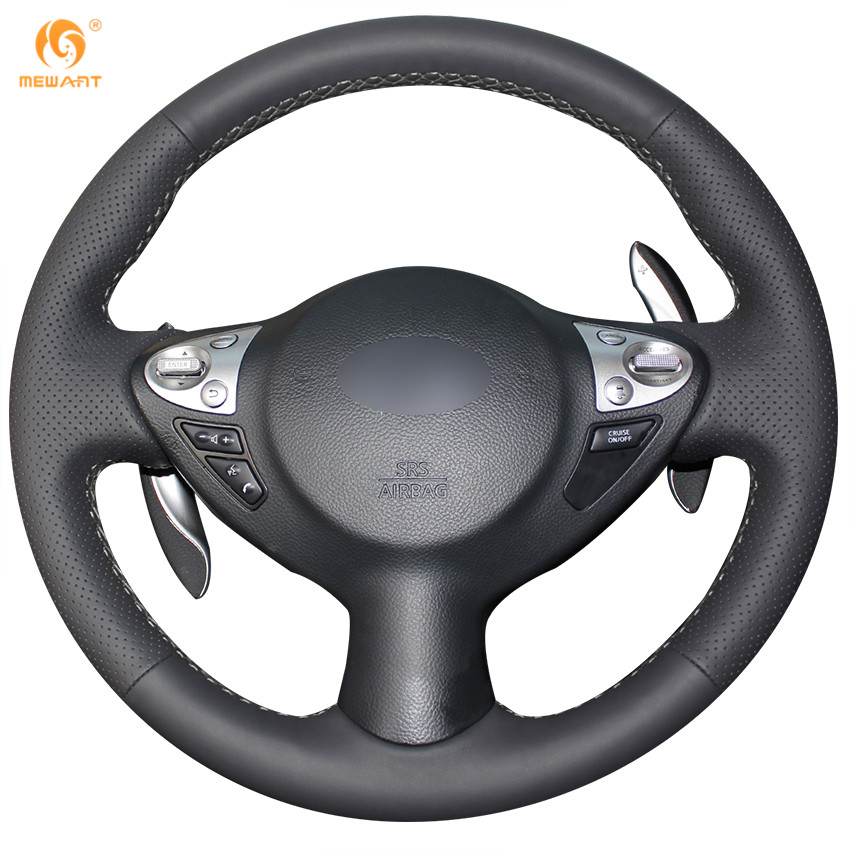 Black Artificial Leather Car Steering Wheel Cover For Infiniti FX FX35 FX37  FX50 Nissan Juke Maxima 2009 2014 Sentra 2016 2017