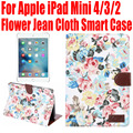 20pcs/Lot For Apple iPad Mini 4 3 2 Flower Jean Cloth PU Leather Smart Case Cover for iPad mini4 With Credit Card slots IM406