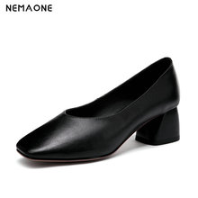 NEMAONE Woman Shoes Spring Autumn Leather Low Heels Women Pumps Women Office Shoes Women's Footwear High Heels Wedding Shoes