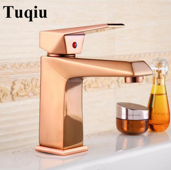Free Shipping Euro Rose Gold finish Luxury Bathroom Basin Faucet small Single Handle with diamond Vanity Sink Mixer water Tap