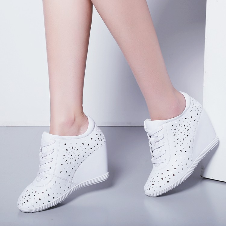Cuñas Tacón Zapatillas Deporte Rosado Mujeres Altura De Las Casual Transpirables {zorssar} Bombas Alto Nueva Mujer 2018 Aumento blanco Zapatos Verano IZFfPP