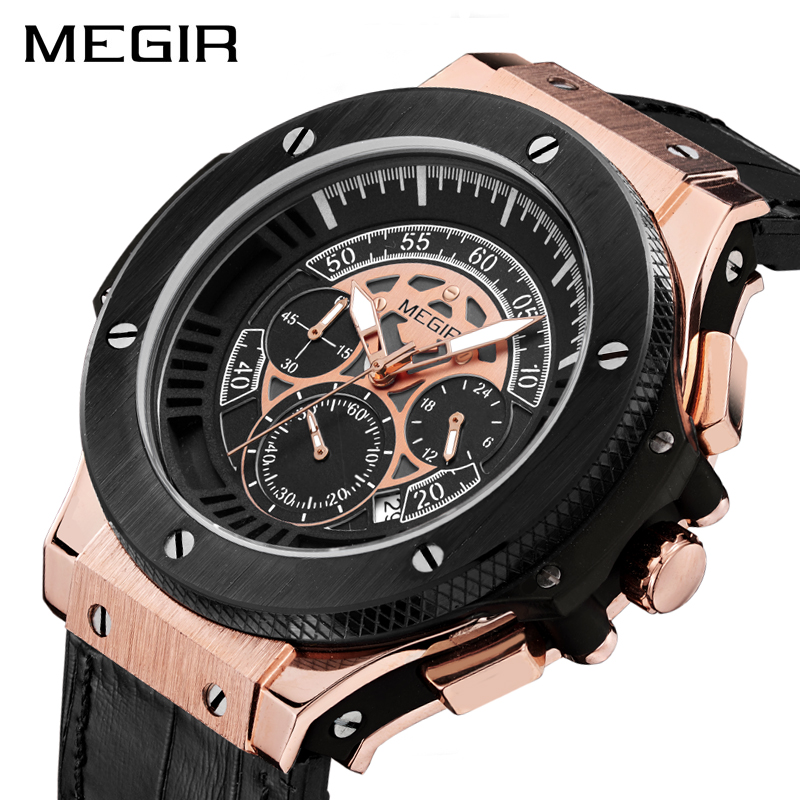 MEGIR Chronograph Quartz Sport Watch Men Big Dial Army Military Men Watches Clock Original Wristwatches 2035 Relogio Masculino gift hot crazy selling army leather belt table trend of retro fashion blue big dial quartz watch clock men military sport watch
