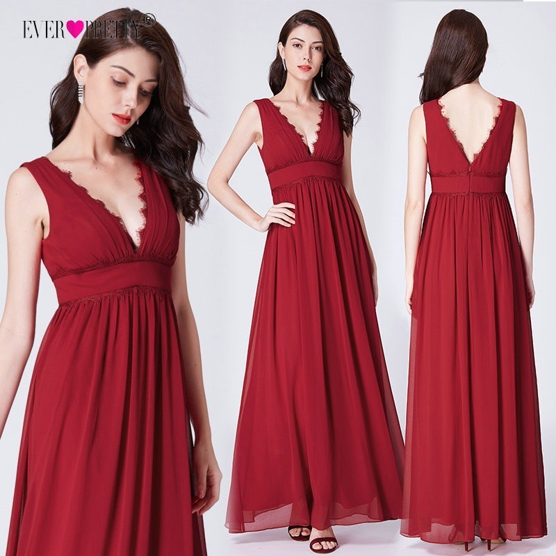 Ever Pretty Burgundy   Bridesmaid     Dresses   Long EP07351RD 2019 Elegant Lace A-line Chiffon V-neck Sleeveless Wedding Guest Gowns
