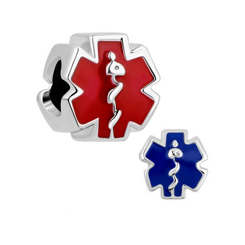 New product Red blue enameled medical symbol charm bead Fit Pandora Bracelet