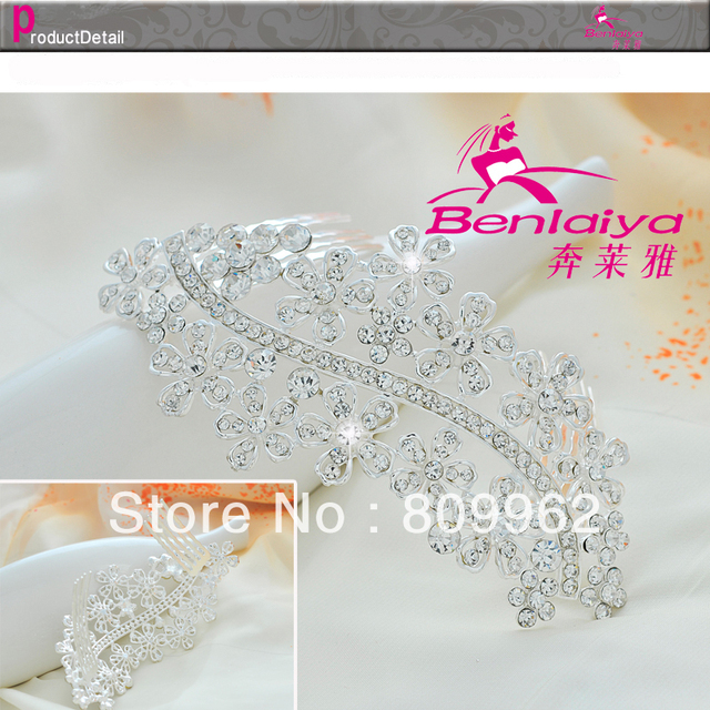 2013 New Free Shipping 2pcs/lot Rhinestone Flower Tiara Wedding Accessories Bridal Crown Silver Plated Jewelry for Women