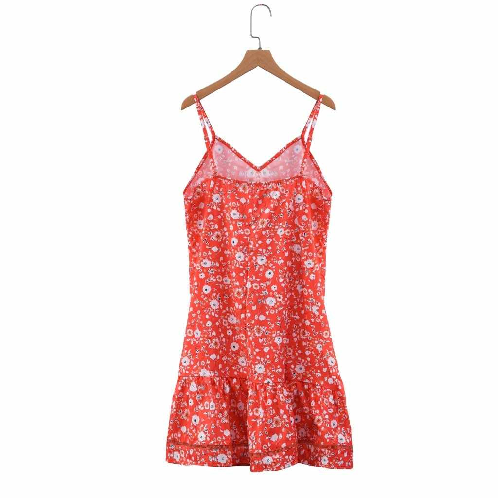 Милое платье с цветочным принтом женское сексуальное платье с глубоким v-образным вырезом без рукавов Летний отдых пляж платья многоцветное богемное платье с воланом # RN