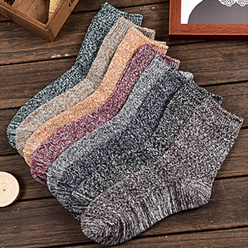 Hot Sale Thick Woolen Knitting Women Short Socks Mixed Color Fashion Winter Socks