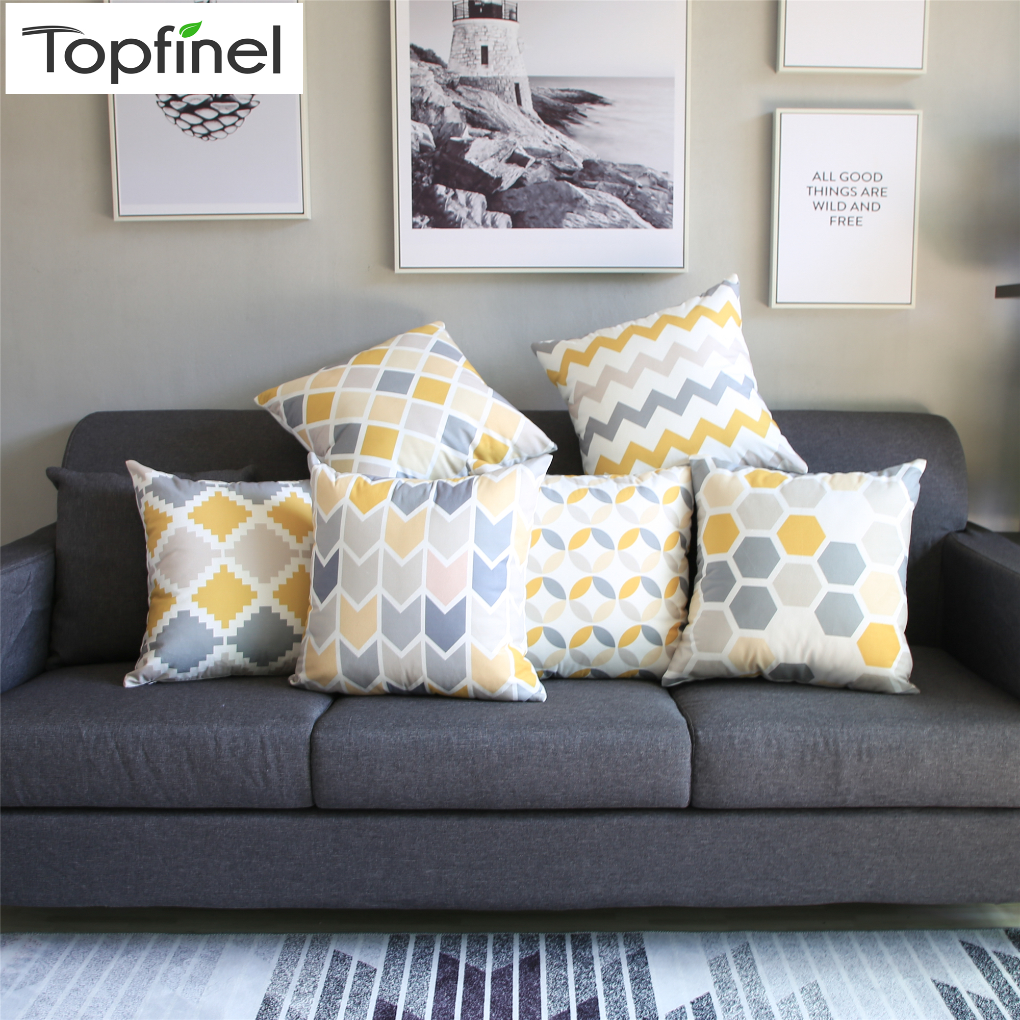 Topfinel Geometric Nordic Cushion Cover