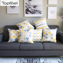 Topfinel Geometric Nordic Cushion Cover Gray and Yellow Microfiber Throw Pillow Case Sofa Bed Decorative