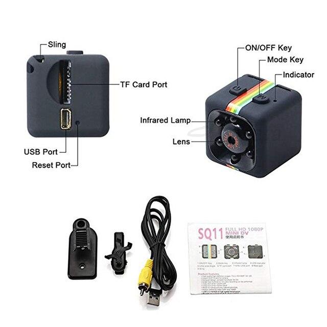 Roreta SQ11 mini camera 1080P HD Sport DV DVR Monitor Concealed camera SQ 11 night vision micro small camera Mini camcorder 5