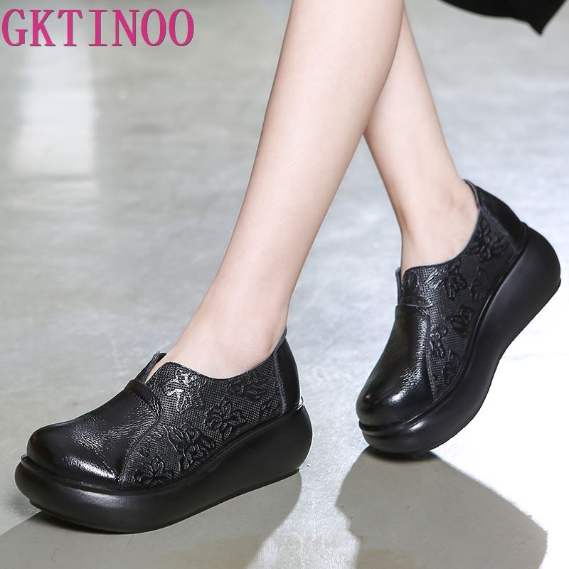 GKTINOO 2019 Spring Embossing Genuine Leather Shoes Women Shoes Fashion Casual Shoes Woman Platform Wedges Shoes High HeelsGKTINOO 2019 Spring Embossing Genuine Leather Shoes Women Shoes Fashion Casual Shoes Woman Platform Wedges Shoes High Heels