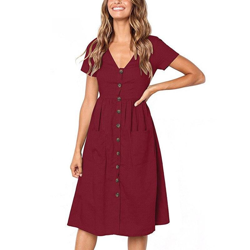 Red Blue A Line Casual Dresses Women Autumn Dress 19 Vintage Long Sleeve Dress For Ladies Buttons V Neck Midi Vestidos Female 88