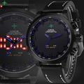 Mens Del Deporte Del Salto Del Reloj de Los Hombres Militar Reloj de Pulsera de Cuero Led Caja de Reloj De Cuarzo Hombre Reloj Wach Hombre Reloj de Los Hombres Led Digital-reloj