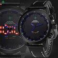 Mens Relógio Do Esporte de Mergulho Homens de Couro relógio de Pulso Militar Levou Caixa de Relógio Masculino Relógio de Quartzo Wach Reloj Hombre Homens Led Digital-relógio