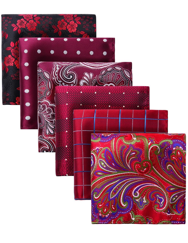 Pocket Square Men Fashion Paisley Floral 6 Pcs Big Size 25 X 25 Cm Wedding Party Business Handkerchief Gift Box Set