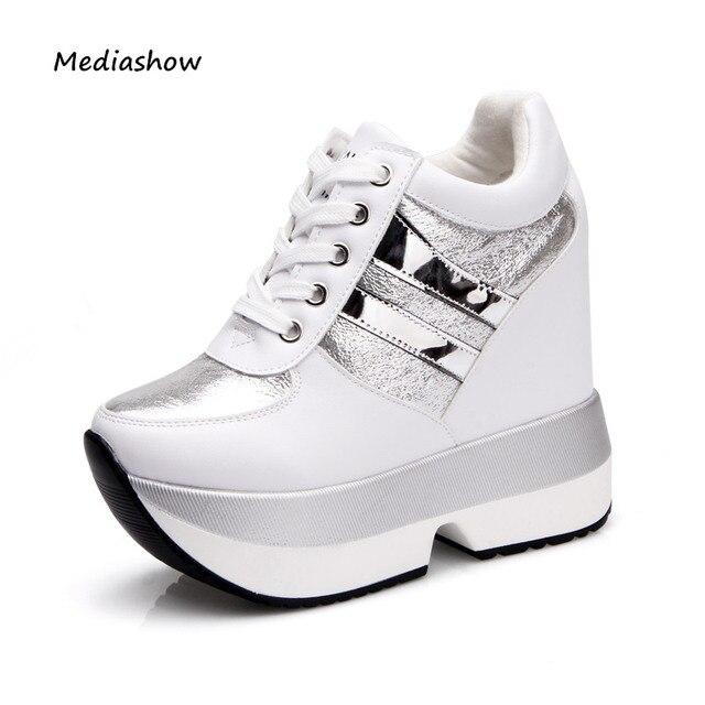 236712cf4 2017 модная женская обувь на высокой платформе Высота Increasi кожаные  туфли 12 см Толстая подошва кроссовки