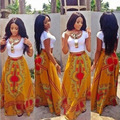 2 Шт. Набор Boho Макси Платье Vestido Fiesta Largos Elegantes Коротким Рукавом Традиционной Африканской Печати Dashiki Bodycon Пляж Платье
