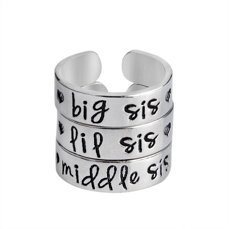 3 adet / takım bis sis orta sis lil sis Yüzük Aşk Kalp Açılış Yüzük Aile kardeş için Best Friends Gümüş Takı Kadınlar Için