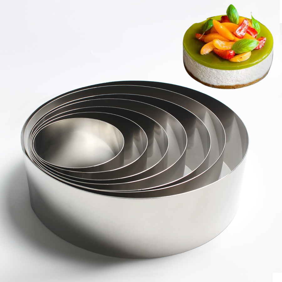 Stainless Steel Mousse Ring <font><b>Cheese</b></font> Thousand Layer <font><b>Mold</b></font> Fondant Mousse Ring Baking Tool Cake Mould <font><b>Round</b></font> Cake Decorating Tools image