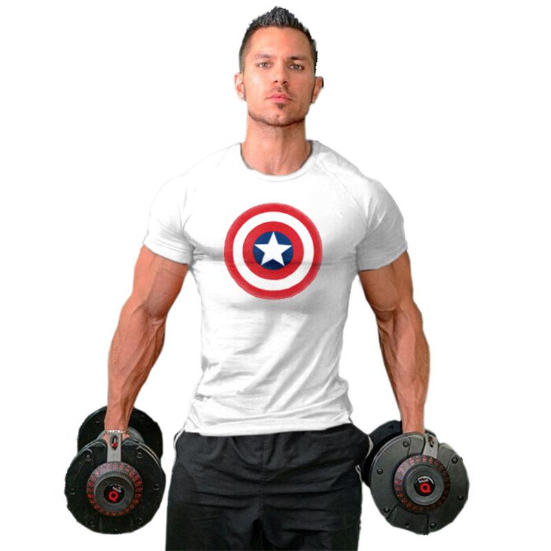 Captain America Printed T-shirts Men Compression Avengers Iron Man Cosplay Costumes Fitness Clothes Male Tops camisetas hombre