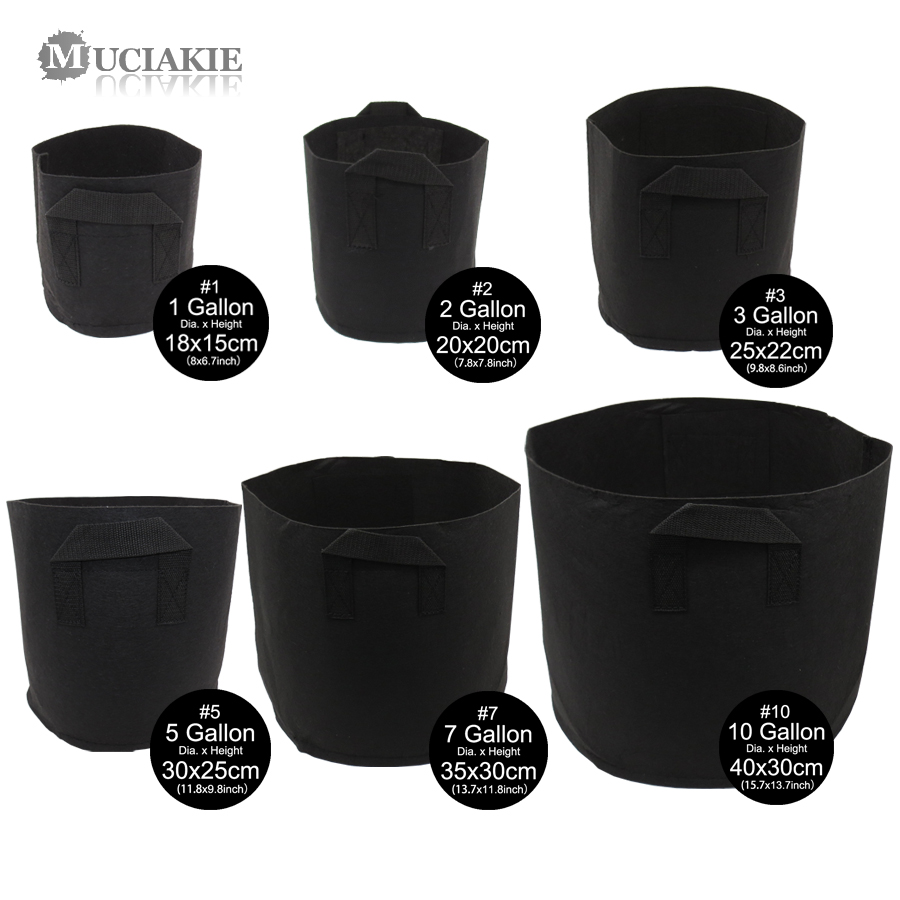 MUCIAKIE 1 10 Gallon Fabric Grow Bags Breathable Pots Planter Root Pouch Container Plant Smart Pots with Handles Garden Supplies|Grow Bags| |  - title=