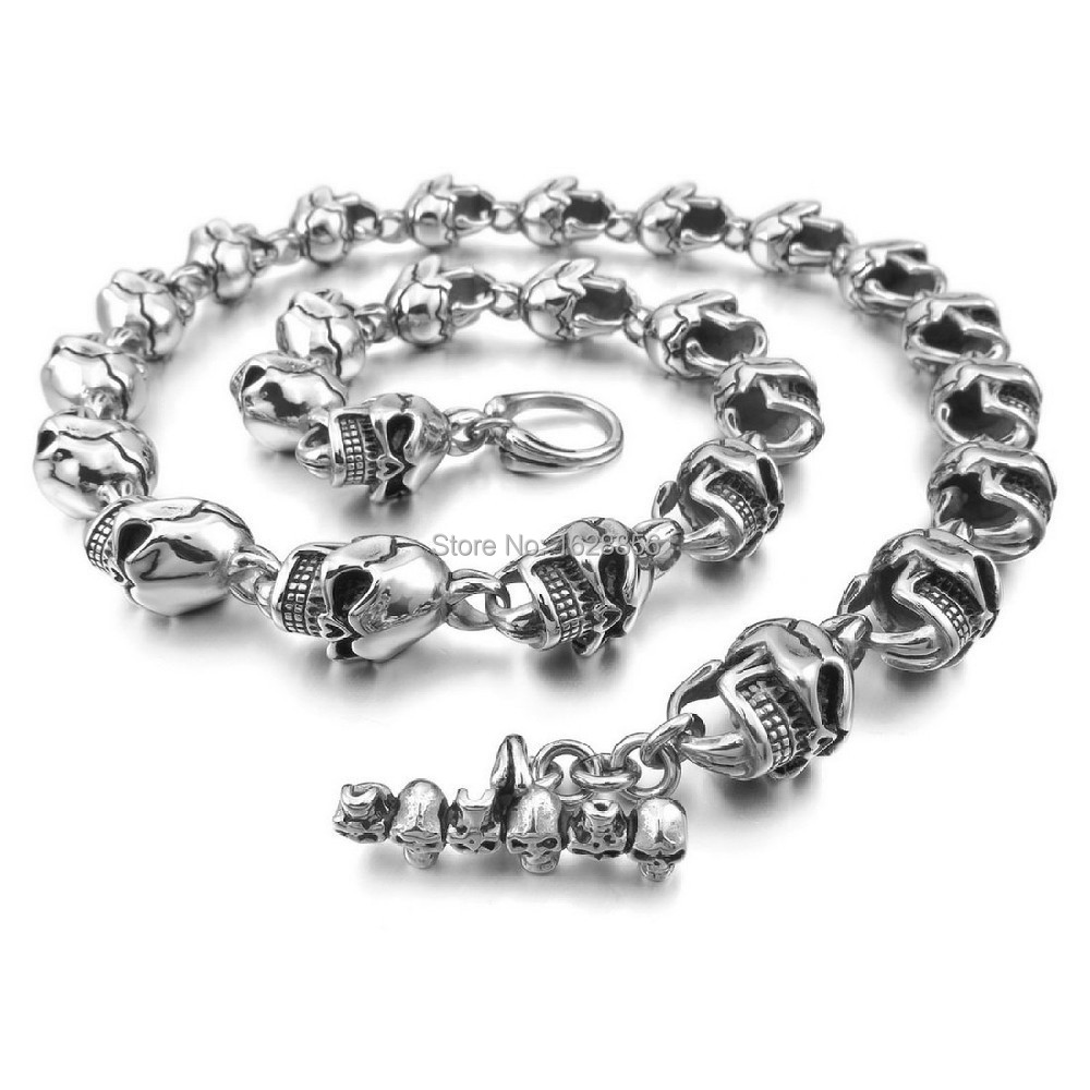 Design Fashion Men's Large Heavy 316L Stainless Steel Necklace Chain Link Silver Black Skull Gothic - Fine jewelry Chinese shop store