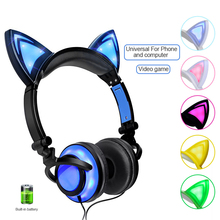 LED Flashing Glowing Headset Foldable Cute Cat Ear Headphone Over Ear Headphones Wired For Girl Kids edifier h850 over ear hifi headphones professional audiophile headset lightweight wired music headphone for iphone ipod tablets