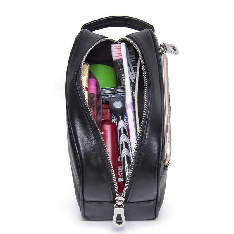 CONTACT'S Водонепроницаемая большая сумка -органайзер из натуральной кожи для хранения косметики с застежками молния 2019