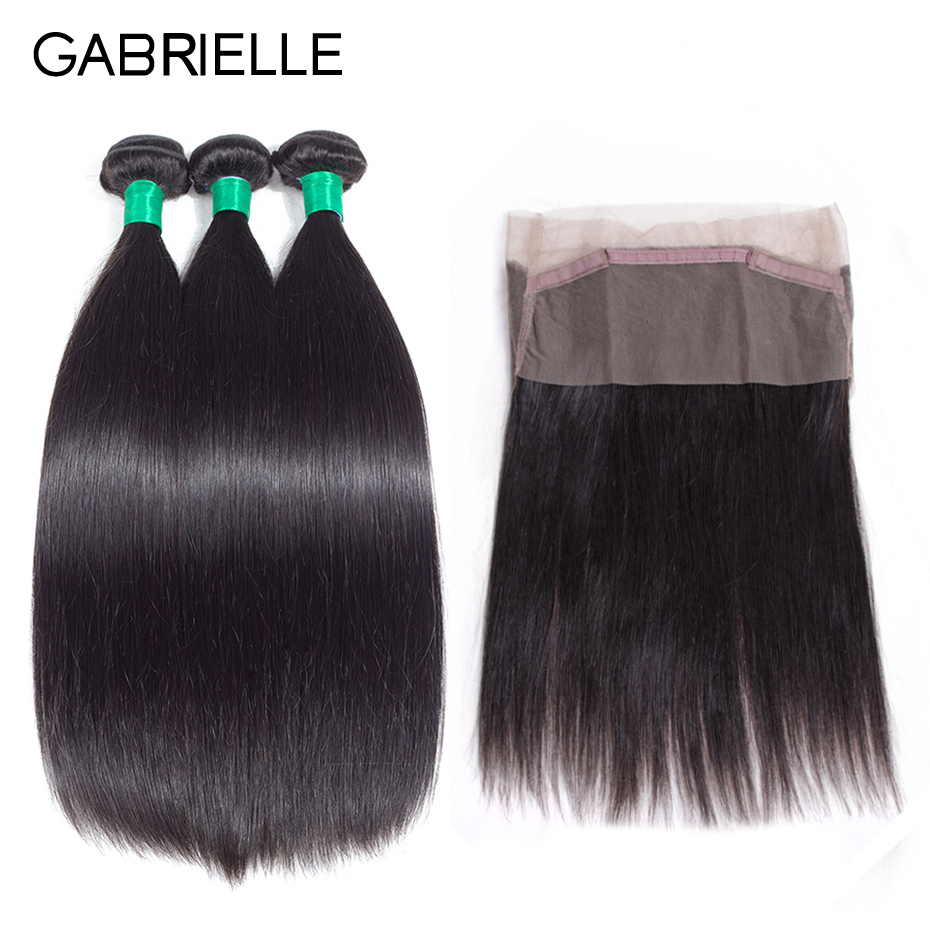 Gabrielle Peruvian Straight Hair Bundles with Frontal Non Remy Human Hair Weave 3 Bundles with 360 Lace Frontal Closure #1B