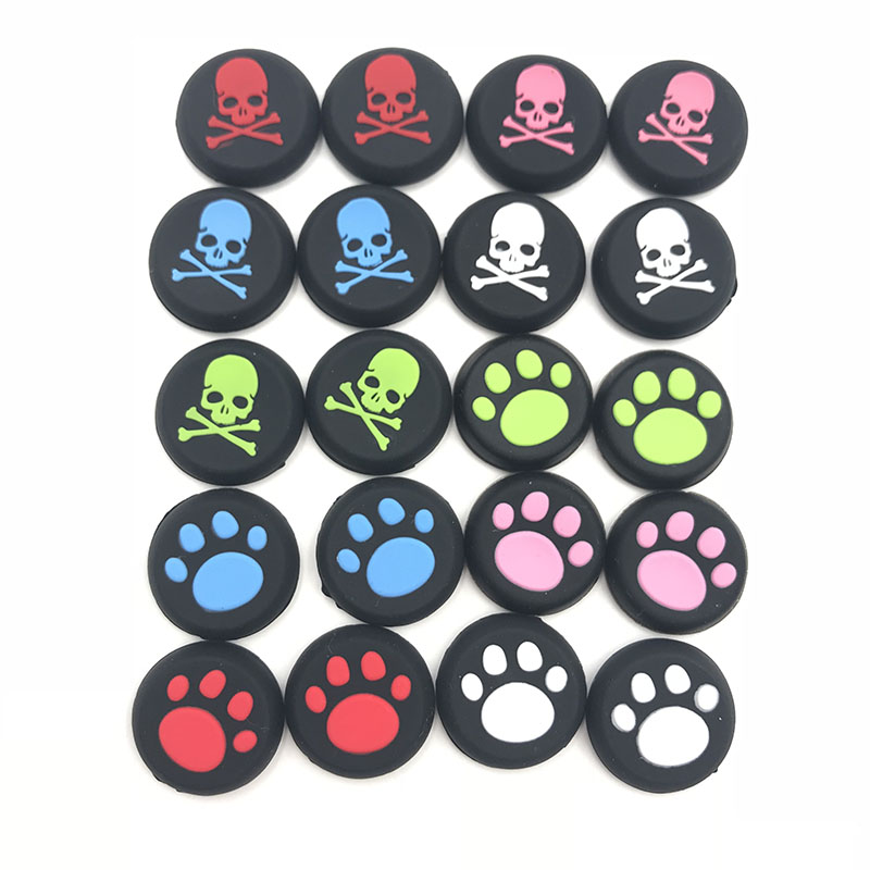 1Pair=2PCS Silicone Cat Paw Skull Edition Joystick Thumb Stick Grip Cap For PS3 PS4 Pro Slim Xbox 360